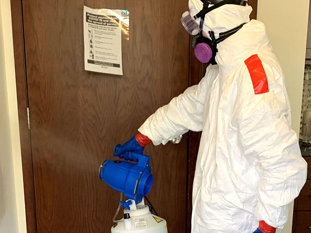 Close spraying of disinfectant