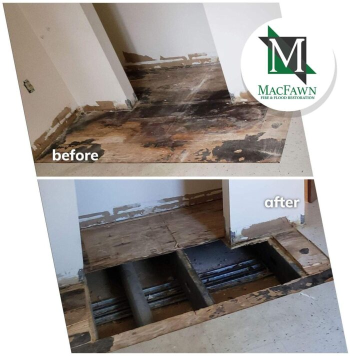 Before and after of a trauma clean up of an unattended death in an apartment unit